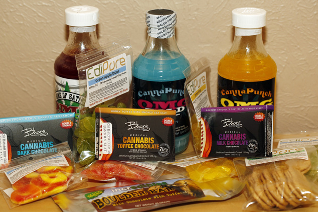 Edible marijuana products on display at a medical marijuana dispensary in Denver.jpg